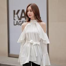 belted blouse shop 2017 autumn slim shoulder