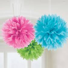 multi coloured large tissue pom pom decorations set of 3 paper