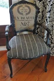 Striped Chair One Solid Dark Bold Stripe Against White In Linen - Upholstery fabric dining room chairs