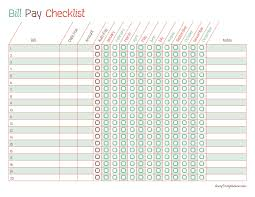 Bill Payment Spreadsheet Printable Monthly Bill Payment Checklists