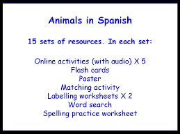 animals in spanish worksheets games activities and flash cards