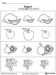 kindergarten activities big and small biggest worksheet identify the biggest fruit myteachingstation com