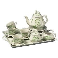 bunny tea set green bunny toile children s tea set by sadek the teapot shoppe