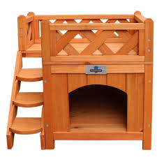 amazon com confidence pet wooden dog house kennel with balcony