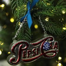 Pepsi Christmas Ornaments - 4 25 silver pepsi cola script logo word sign decorative glass