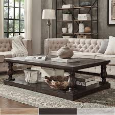 Coffee Table Stands Signal Edmaire Rustic Baluster Weathered Pine 60 Inch Coffee