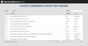 laravel tutorial exle demo laravel 5 implementing datatables tutorial using yajra package