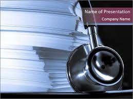 medical record books and stethoscope powerpoint template