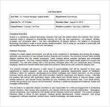 Commercial Model Job Description   product manager job description template 10 free word excel pdf