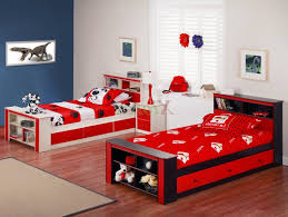 Blue And Red Boys Bedroom Boys Bedrooms With Bunk Beds Yellow Pillow Pink Wood Bedside Table