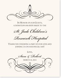 wedding gift donation to charity custom wedding donation cards for your charity favors and