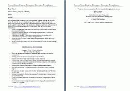 Event Coordinator Resume Sample by Sample Event Coordinator Resume Free Word Templates