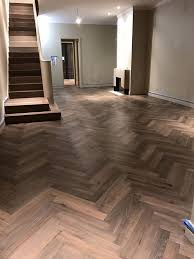 herringbone oak hardwood floor installation in chicago