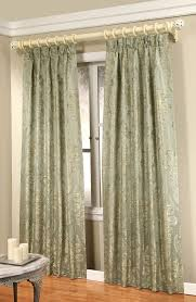 decorations pinch pleated drapes with green natural pattern