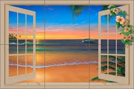 Ceramic Tile Mural Backsplash by Ceramic Tile Mural Backsplash Miller Tropical Seascape Sunset Art
