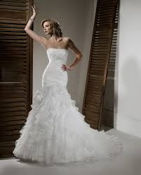 ivory organza pleated u0026 ruffled drop waist strapless wedding gown