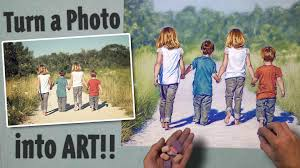 turn a photo into art pastel sd painting kids walking at the beach you