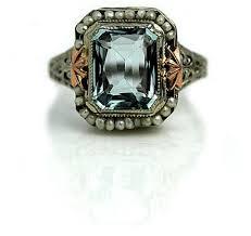 art deco aquamarine and pearl engagement ring