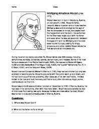 mozart biography brief mozart information worksheet biography by lime time tpt