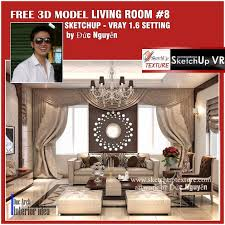 sketchup texture su 3d model living room 8 vray setting