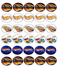 30 x hot wheels images edible cupcake toppers premium rice paper
