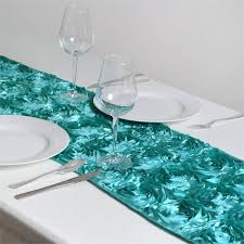 table runner grandiose rosette satin table runner 14 x 108 turquoise