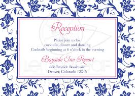 wedding reception cards wedding reception card pink royal blue damask