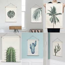 Hanging Prints 36 Botanical Designs Fabric Prints Wooden Frame Poster Hanger Wall