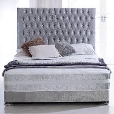 Silver Velvet Headboard by Hf4you Sprung Memory Crushed Velvet Bed Set 4ft Small Double