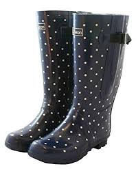 s extended calf boots wide calf boots navy with white spots jileon rainboots