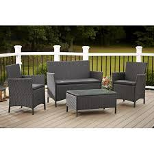 Resin Patio Table And Chairs Cosco Outdoor Jamaica 4 Piece Resin Wicker Patio Conversation Set