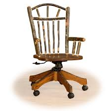 rustic unstained log wood swivel chair with brown stained wooden