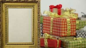 boxes with bows golden frame on the background of gift boxes with bows stock