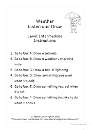 listen read u0026 draw weather worksheets worksheet free esl