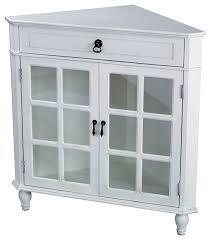 Corner Cabinet With Glass Doors Vivian 1 Drawer 2 Door Corner Cabinet With Paned Glass Doors