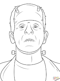 scary frankenstein head coloring page free printable coloring pages