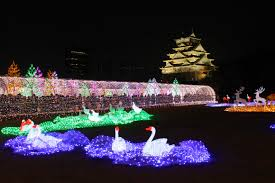 3d light show osaka castle backdrop for brain melting 3d light show photos and