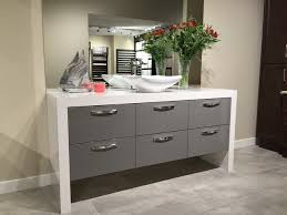 Ballantyne Vanity Euro Style Grey Hi Gloss Vanity With Waterfall Top Contemporary