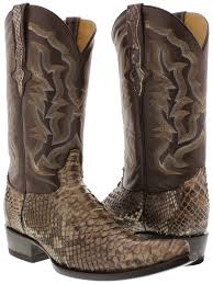real leather biker boots mens all real brown python snake skin exotic leather cowboy boots