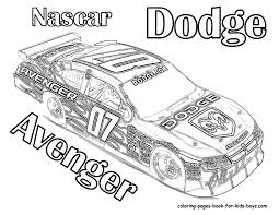 race car coloring pages of nascar dodge avenger 07 u003e u003e disney