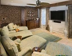 Traditional Home Style Traditional Home Theater With Interior Brick Wall By Bruce Palmer