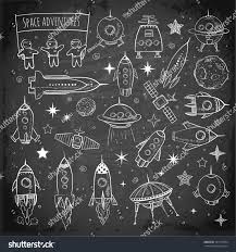 collection sketchy space objects on blackboard stock vector