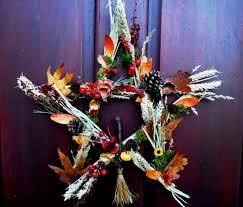 samhain pentagram wreath pagan wiccan handmade altar