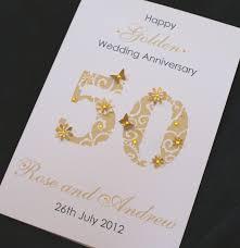 large handmade personalised 50th golden wedding anniversary card