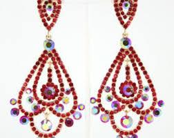 Red Chandelier Earrings Prom Earrings Etsy