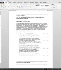 related party transaction conflict of interest questionnaire template