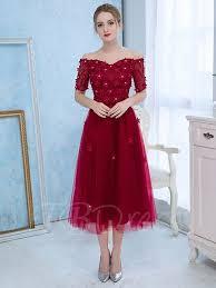 a line off the shoulder appliques beading lace tea length prom