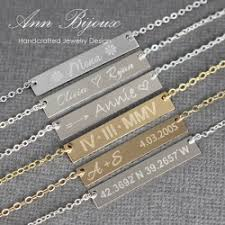 Personalized Bar Necklace Personalized Name Plate Necklace Engraved Gold Bar Necklace