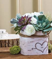 succulent centerpieces faux birch succulents and centerpiece joann