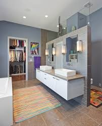 shower behind vanity bathroom contemporary with grey nickel